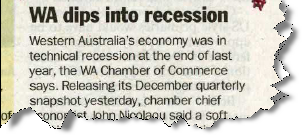 AFR article 7 April 2011 on WA recession