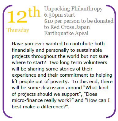 Details for Mar and Mark's talk on overseas philanthropy