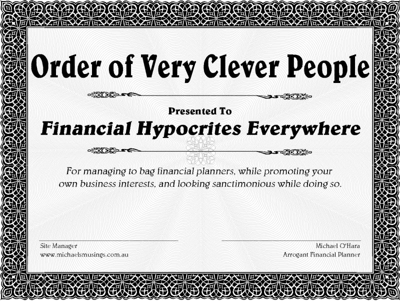 Financial Planning Perth : Michael's certificate for Very Clever People