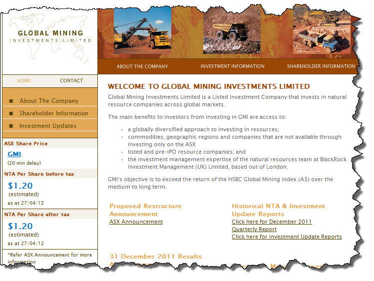 Financial Planning Perth : 20120511 Snapshot of the GMI website