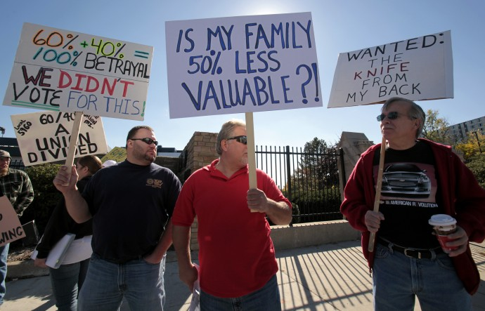 Financial Planning Perth : General Motors workers protesting in Detroit